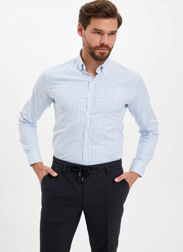 DeFacto Slim Fit Çizgili Gömlek Mavi